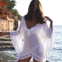Wholesale Beach Bats - Hot Lace Beach Cover Up White Blouse Bikini Cover Ups Women Swimsuit Bat Sleeve Organza Irregular Beachwear Beach Tunic Sun Shirt SV029818