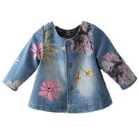 çiçek kız kat toptan satış-Kızlar için kot Ceket Toddler Kot Ceket Bahar Çiçek Çiçek Pelerin Desen Çocuk Rahat Bebek Giyim Sevimli Çocuklar Denim Ceketler kostüm