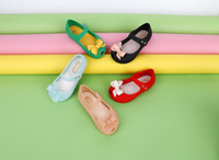 Wholesale Peep Toe Bow - MINI Melissa Children Soft Bottom Princess Girls Bow Shoes Jelly Crystal peep-toe Sandals Beach shoes free shipping
