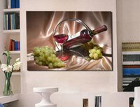Wholesale modern wine abstract art canvas - Modern Oil Painting (No Frame) White Grape and Wine Canvas Giclee Wall Art picture for Living Room Home Decoration