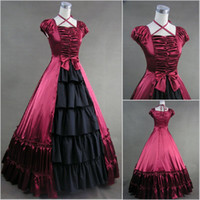 Billig Red Southern Belle Civil War Gothic viktorianischen Ballkleid Kleid Weihnachten Party Kleid Theaterkostüm