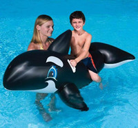 Wholesale Inflatable Dolphin Wholesale - Swimming Rings Giant Pool Float Black Whale Dolphin Lifelike Style Baby Floating Rings Inflatable Children Kids Toys PVC