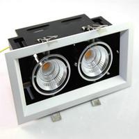 çift ızgara toptan satış-Çift kaymak COB LED Tavan ışık kare yüksek 2 * 12 W güç COB ızgara fırçalanmış Beyaz kare Tavan downlight