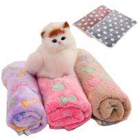 mantas huellas de la pata al por mayor-Hot 76 * 52 cm Pet Mantas Paw Prints Mantas para mascotas gato y perro Suave Cálido Mantas Fleece Mat Cubierta de cama IB306