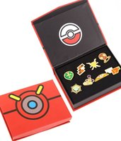 Wholesale Fairy Games - Poke Pocket Monster Toys Badge Brand 3D Metal Alloy Brooch Pikachu Pin Fairy Action Figure Game Prop Badges Children Gifts 8pcs box