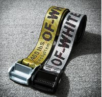 Wholesale Industrial Leather Belting - OFF WHITE Belts Men Extend Long 200CM Long Fashion Yellow Belt Women Hip hop Streetwear Skateboards Virgil Abloh Industrial Man
