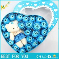 Wholesale Diy Doll Flowers - DIY Artificial Soap Rose Flower with Bear Doll Toy Handmade Rose Flowers Soap Flower Gift Box Valentine's Day Christmas Wedding