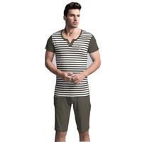 Wholesale Adult Short Onesies - Wholesale-2016 Summer Adult Men Pajamas Sexy Both Robe Shorts Sleepwear Cotton Pyjamas Short Sleeve Striped Print Nightwear Set