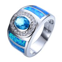 Nova venda Men Women Round Blue Opal Ring White Gold Filled Fashion Jewelry Promise Engagement Rings Gifts RP0001