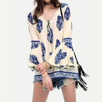 Wholesale Oversized Womens Shirts - Womens Blouses 2018 Lace-Up V-Neck Shirt Oversized Boho Floral Print Flare Sleeve Casual Loose Blouse Tops