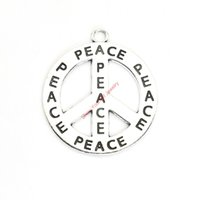 Wholesale Gold Peace Sign Necklaces - 10pcs Antique Silver Plated Peace Sign Charms Pendants for Bracelet Jewelry Making DIY Necklace Craft 41mm