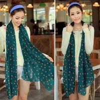 Wholesale Long Silk Scarf Styles - Women's Chiffon Scarf Georgette Long Wrap Shawl Beach Silk Dot Pattern Styles Scarf Scarves Fashion Accessories Wholesale