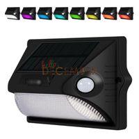 Wholesale Pir Rgb - 7-Color RGBW LED PIR Solar Lights Dual-Headed Motion Sensors Solar Lamps Outdoor Waterproof LED Wall Light