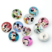 Wholesale Cross Love Bracelets - Z0255 Mickey Minnie Mouse Cartoon button snaps for kids Children noosa chunks for noosa leather DIY bracelets Christmas Gift noosa jewelry