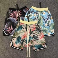 Wholesale Fork Lifting - 2017 NEW best version Justin Bieber Fear of God fog high street big fork lift fork shorts flowers floral haroun pants zipper shorts S-XL