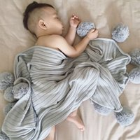 Wholesale ins Europe good quality fashion Solid cotton knitting Baby kids swaddling Newborn Baby Air conditioning blanket with Wool ball