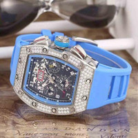 Wholesale Massa Flyback - Luxury Swiss Brand RM011 Diamond Stainless Date Transparent Mens Mechanical Watch Felipe Massa Flyback Rubber Men Automatic Wristwatch women
