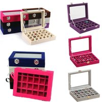 Wholesale Tool Equipment Cases - Wholesale- 24 Grids Black Rose Red Velvet Jewelry Box Rings Earrings Necklaces Makeup Holder Case Organizer Nail Art Tool Set Equipment