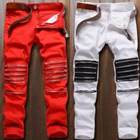 Wholesale Jeans Pants New Design - 2016 New Mens jeans Skinny Distressed Ripped male pants Nightclubs Fashion Destroyed Knee Zipper Jeans Red and white street design