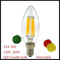 Wholesale Led Candle Lamp Shade - 1X LED Cacdle bulb E14 E12 Dimmable 2W 4W 6W LED Filament Edison Candle light 220V 110VAC LED lamp Glass shade led lamp bulb Warm Cool white