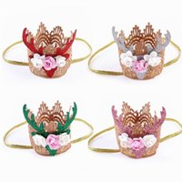 Wholesale Red Glitter Headbands - 2016 New Christmas Headbands Rose Flower Glitter Elk Crown Hair band With Plastic Box Hair Accessories TD120