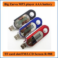 Wholesale Player Mp3 Voice Recorder Reader - Big Zarva USB 2.0 MP3 Music Player with FM Radio support TF Card Max to 32GB USE AAA Battery 8 kinds EQ USB Flash MP3 U Disk R-988