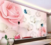 ingrosso carta da parati della decorazione della casa-3D HD Large Mural Pink Rose Foto Wallpaper Scenery For Walls Wedding House Carta da parati romantica Decorazione della casa Papel De Parede