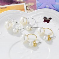 Wholesale Earring Stud Yellow Gold - 2016 New Princess Style Yellow White Gold Plated Plain Double Pearls Back and Front Stud Earrings Fashion Jewelry Christmas Gift for Women