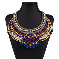 Wholesale miao embroidery - Collar Necklace New Fashion Manual Crafts Fake Collar Exaggerated Nation Wind Pure Bead Embroidery Personality Necklace Free Shipping HD-041