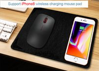 Wholesale Iphone Usb Mouse - Qi Wireless Charger Mouse Pad 2 in 1 Function 0.5 cm Ultra-thin Micro USB Quick Chargers for iPhone8 iPhone X Smart Phone