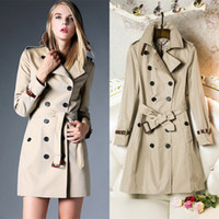 Wholesale Long Leather Woman Trench - New arrival 2016 Fashion British Middle Long Double Breasted Trench Coat Designer Genuine Leather Belt Elegant Outerwear khaki Purple #83146