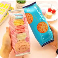 Wholesale Cracker Bag - Creative Macaron Cracker School Pencil Case Cute PU Leather pen bag Kawaii Stationery pouch office school supplie zakka