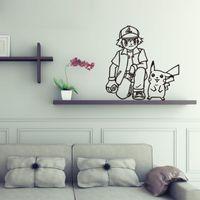 asche poke großhandel-Poke Wandaufkleber Ash Ketchum und Pikachu Karikatur sickers schwarz weiß Skizze Aufkleber 56 * 57cm für Kinderzimmer Dekor T403-4