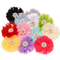 Wholesale Puff Flower Clip - Wholesale 32PCS Chiffon Puff Flowers Shabby Flowers Rhinestone Center Little girls infant Hair Accessories Without Hair Bows Clips