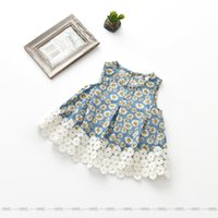 Wholesale Korea Top Tee - Everweekend Girls Floral Print Lace Tees Ruffles Sweet Children Summer Fashion Tops Cute Baby Western Korea Fashion Blouse