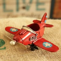Wholesale Metal Model Fighter Plane - Europe Ace of Aces Red Blue White Yellow Iron Fighter Model Retro Small Plane Desk Decoration for Boy Gift DEC098