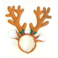 Wholesale Christmas Presents Ornaments - Christmas decorations present DIY Party Christmas Thicker Brown ear Red bells antlers hair ornaments high quality Party Supplie wholesale