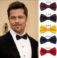 evlilik kravatı toptan satış-Toptan Satış - Toptan-resmi ticari papyon erkek düz renk erkekler için düğün yay kravat bağları şeker renk kelebek cravat papyon