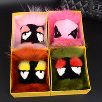 Wholesale Colour Car Led Lights - 23 Colours Hand Made Fur Small Monster Car Bags Pendant Key Ring Hair Ball Pendant Hair Ball Jewelry Keychain SS0011