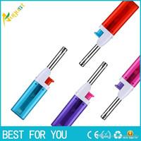 gás mais leve usb venda por atacado-Mini Tocha de Gás Inflável Isqueiro 5 cores com caixa de exibição também oferecem USB à prova de vento arco isqueiro quente