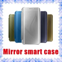 Wholesale Slimmest Iphone Folio Case - Fashion Slim Matte Mirror Clear View Folio Flip Phone Case Cover for Samsung Galaxy S6 S6 Edge S7 S7 Edge 01