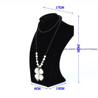 Wholesale Retail Necklace Display - Free Shipping Retail Luxury Wooden Jewelry Display Mannequin Necklace Holder Bust Black Velvet Stand 24CM height