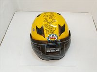 Wholesale Motorbike Full Face Helmets - Wholesale NEW Genuine High Quality UNV Cute little jingle Mini Yellow Full Face Helmets With Dual Lens Helmet Motorbike