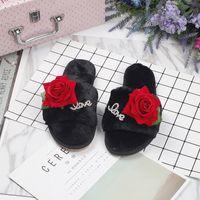 Wholesale Pink Rose Sandals Flower - rose flower decoration fur sandals women 2017 new winter feather shoes floral fur flip flops woman slippers a104