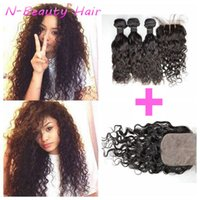 Wholesale Easy Weave - G-EASY Wet And Wavy Silk Base Closure With 3 Bundles Brazilian Human Hair Extensions Natural Black DHL FREE
