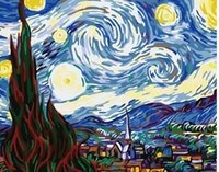 Wholesale Paint Number Kit Canvas - Diy Oil Painting,Paint by Number Kit for Adult 16 by 20-Inch (Starry Night)