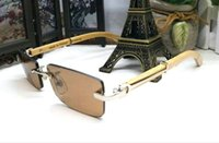 Wholesale Original Bamboo - fashion buffalo horn glasses for men women original bamboo wood sunglasses for womens rectangular clear lens rimless come with glasses box