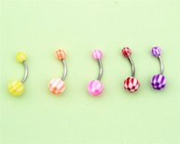 Wholesale Stripe Piercing - 30pcs Mix Pack Stripes Ball Curved Belly Button Bar Navel Ring Barbell Body Piercing