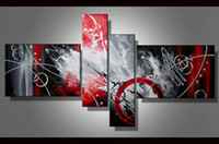 Wholesale Modern Contemporary Decor - Contemporary Art Multiple 4 Pieces Sets Modern Abstract oil painting on Canvas Handpainted Modern Home Office Hotel Wall Art Decor Gift ab49