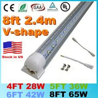 Wholesale Led Light 8ft 42w - Stock In US V-Shaped T8 Led Tube Lights 4FT 28W 5FT 36W 6FT 42W 8FT 65W 2.4m Integrated Cooler Door Led Fluorescent Double Glow lighting